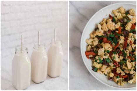 Roasted Cauliflower Salad And Homemade Walnut Milk Recipe