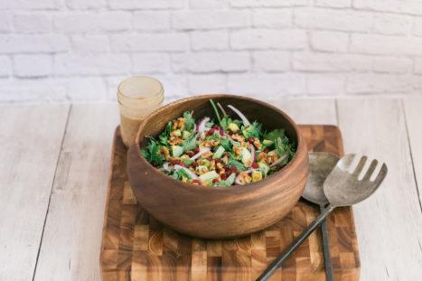 Baby Kale Salad With Pomogranate, Apple, Avocado And Walnuts (Recipe)