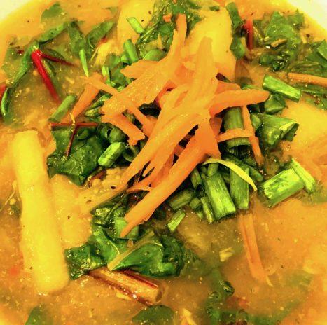 Dr. Haider's Cassava Swiss Chard Soup